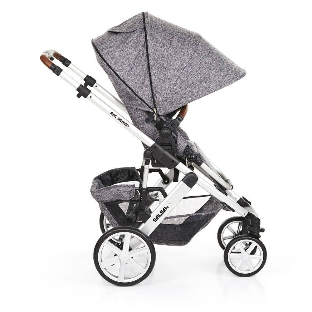 Carrinho de Bebê Salsa 4 Rodas + Moisés + Bebê Conforto Race (Cinza) - ABC Design