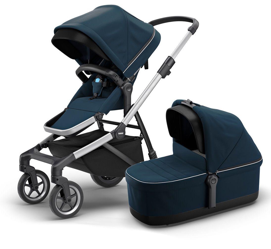 Carrinho de Bebê Thule Sleek Navy Blue (Azul) + Sleek Bassinet (Moisés) - Thule