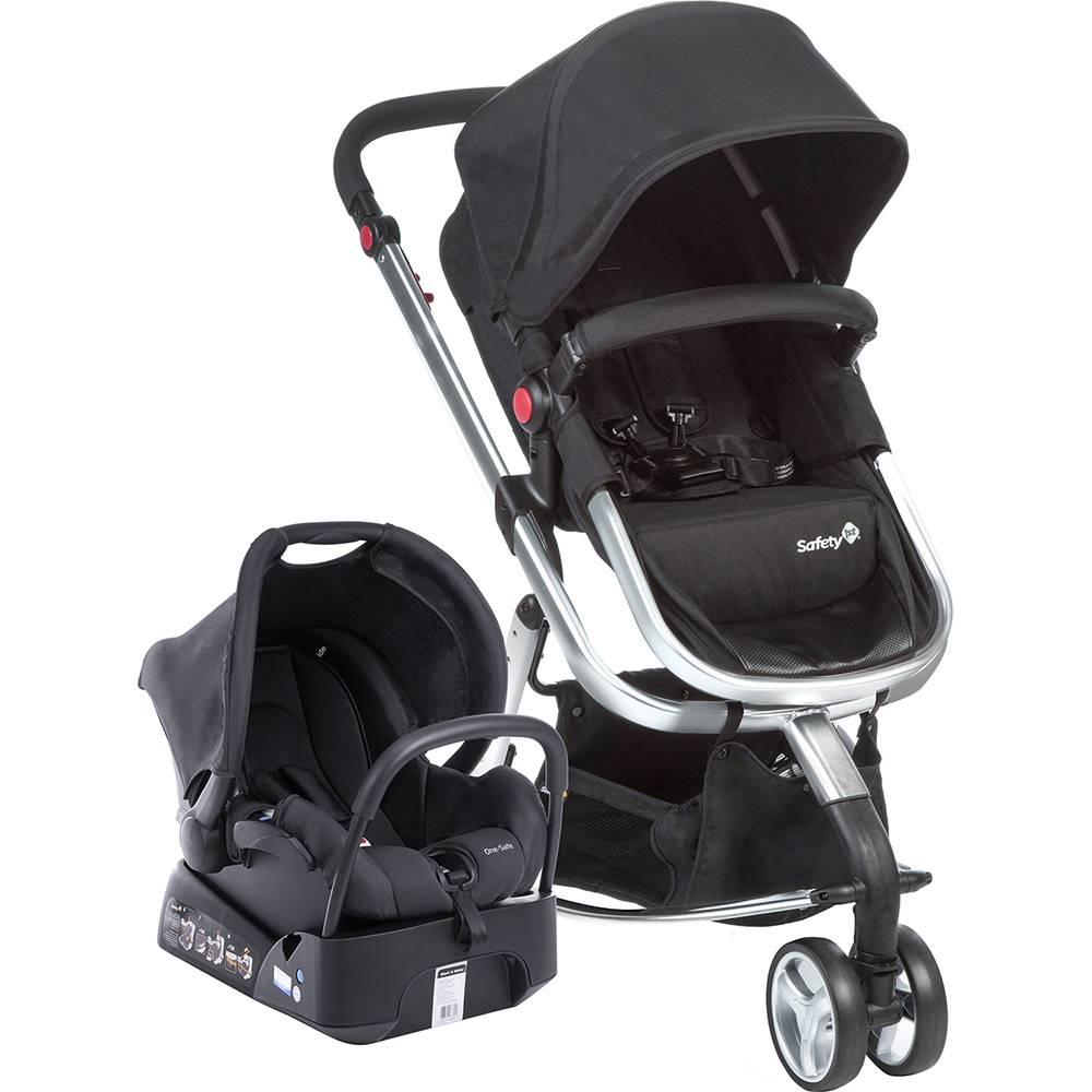 Carrinho de Bebê Travel System Mobi Preto Estrutura Prata - Safety 1 St