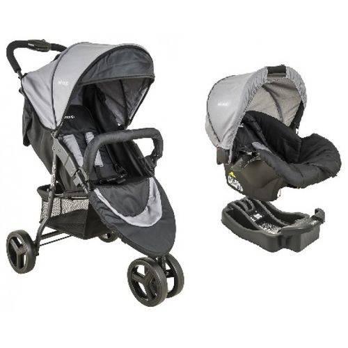 Carrinho de bebe Trio Com Bebê Conforto Whoop + Base Cinza - Kiddo