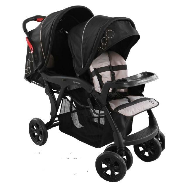 Carrinho de Gêmeos Doppio Preto + 2 Bebê Conforto + 2 Bases - Galzerano