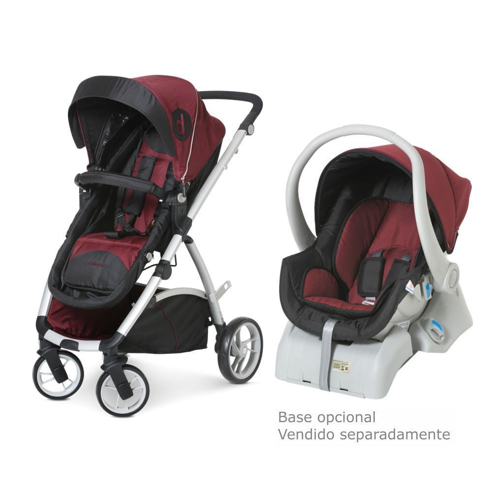 Carrinho de Passeio com Bebê Conforto Maly Vinho com Preto II - Dzieco
