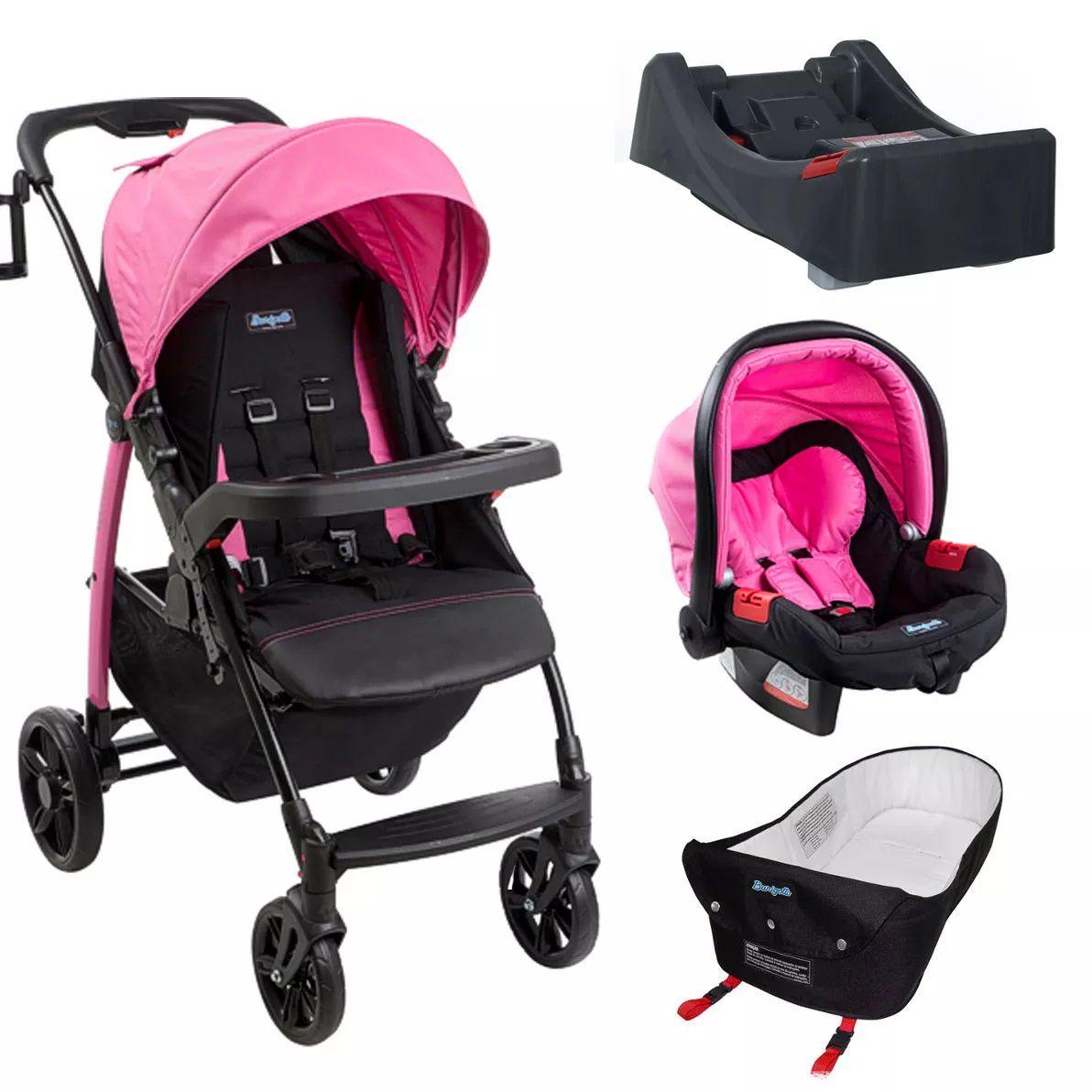 Carrinho Ecco Azaleia (Rosa) com Bebê Conforto Touring Evolution Se + Base + Ninho Pramete - Burigotto