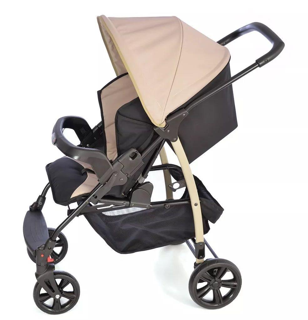 Carrinho Ecco Capuccino (Bege) com Bebê Conforto Touring Evolution Se + Base - Burigotto