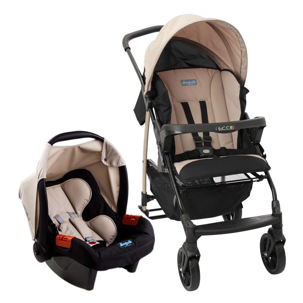 Carrinho Ecco Capuccino (Bege) com Bebê Conforto Touring Evolution Se II + Base - Burigotto