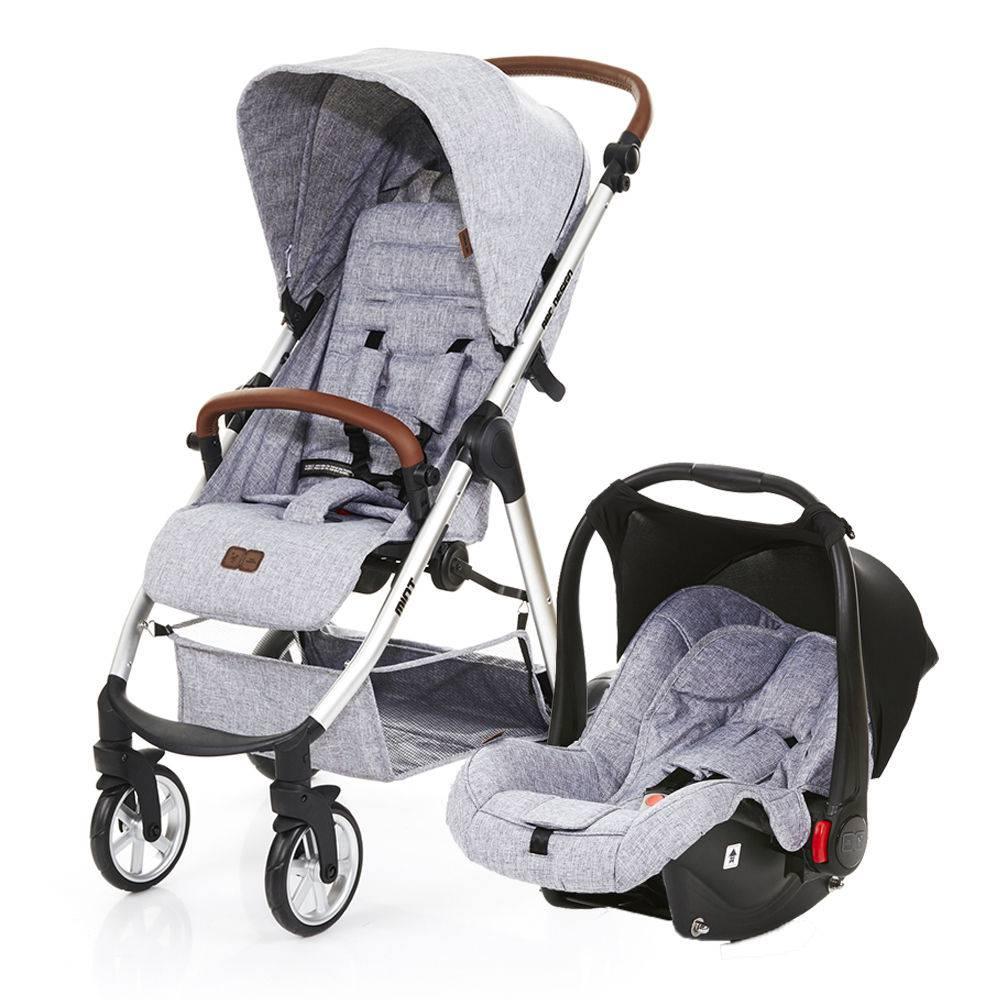 Carrinho Mint com Bebê Conforto Risus Graphite Gray (Cinza Claro) - Abc Design