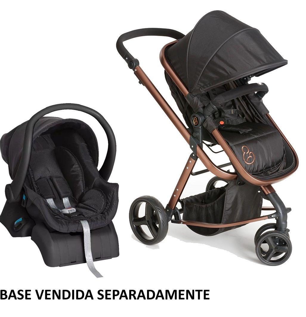 Carrinho Moisés com Bebê Conforto Tessy Preto / Cobre sem Base - Galzerano