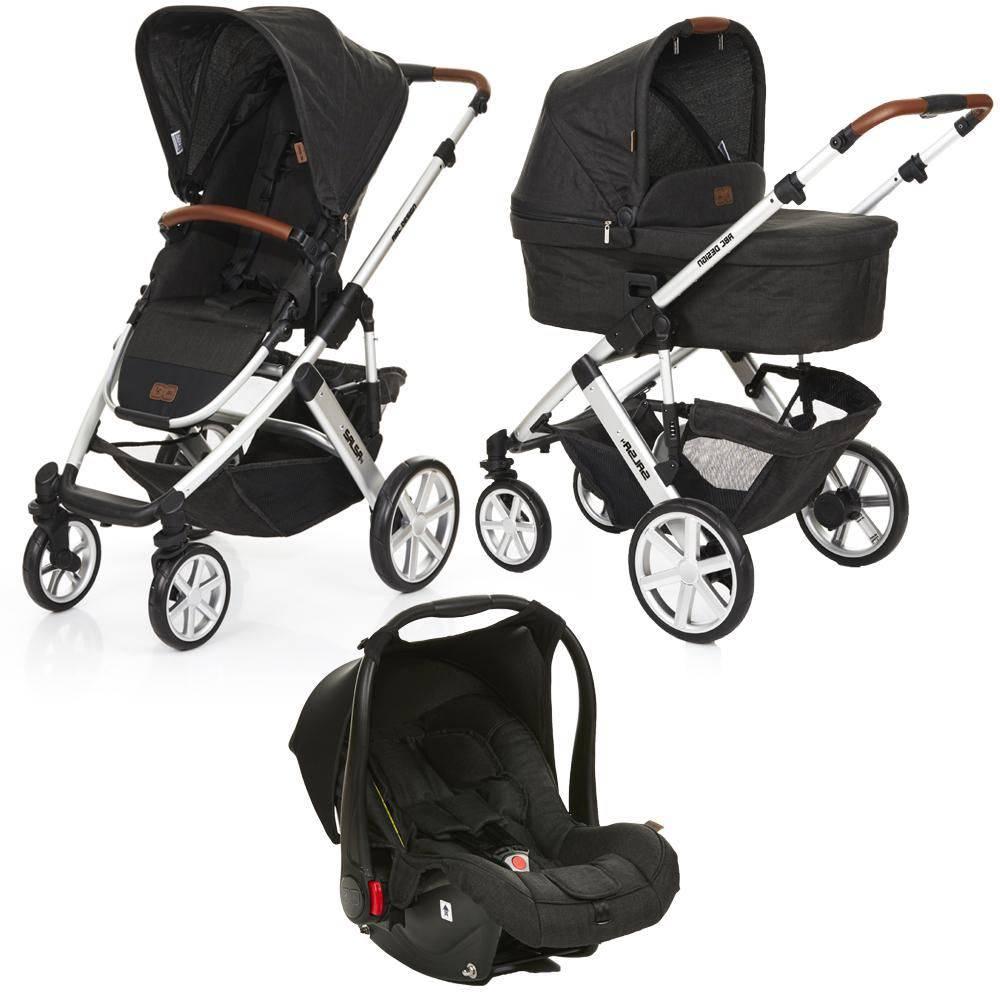 Carrinho Moises Salsa 4 Rodas + Bebê Conforto Piano (Preto) - ABC Design