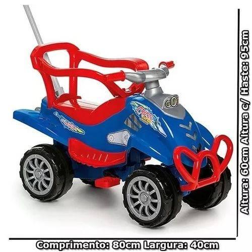 Carrinho Pedal e Empurrador Cross Turbo Azul - Calesita