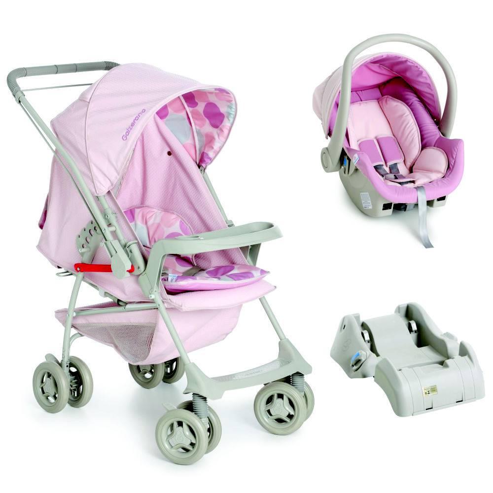 Carrinho Reversível com Bebê Conforto Milano Rosa + Base - Galzerano