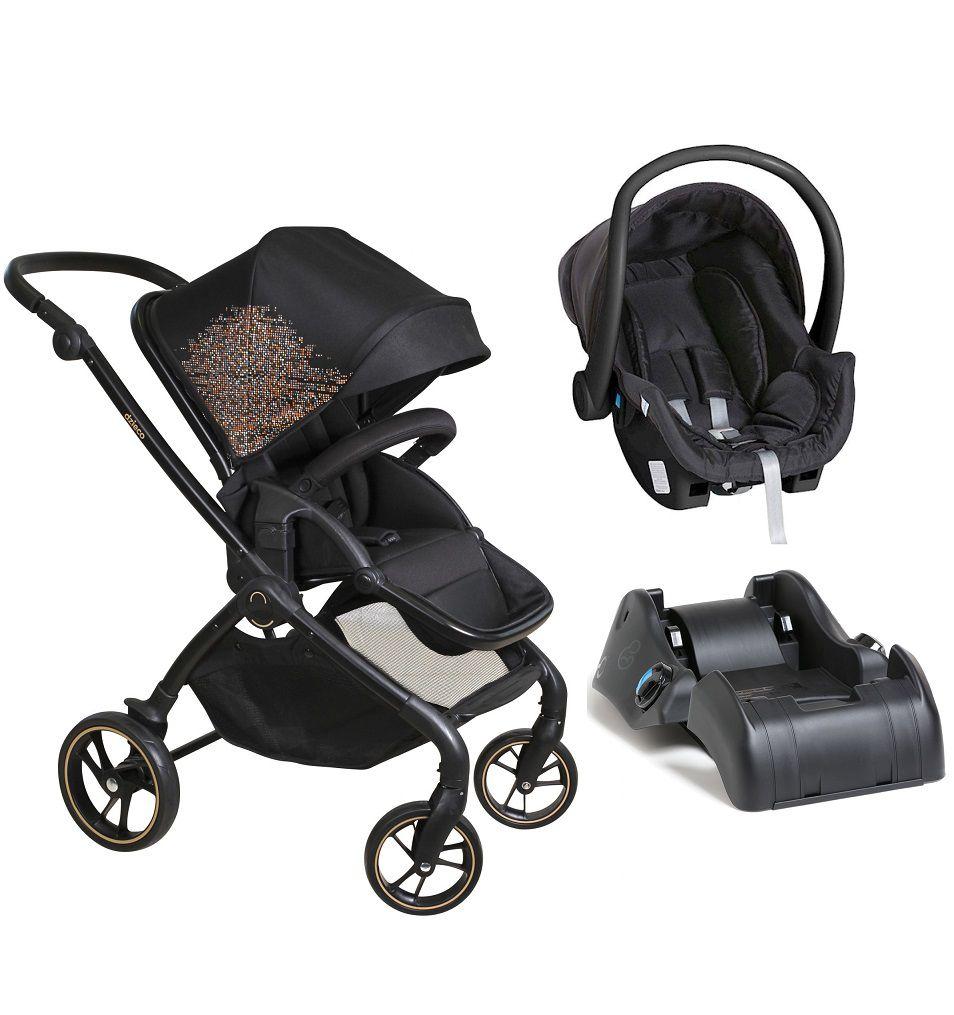 Carrinho Reversível Rovy Preto + Bebê Conforto + Base - Dzieco