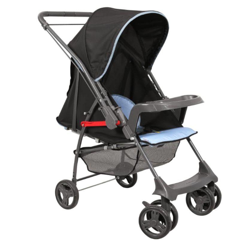 Carrinho Reversível Sorano c/ Bebê Conforto Preto/Azul + Base - Galzerano