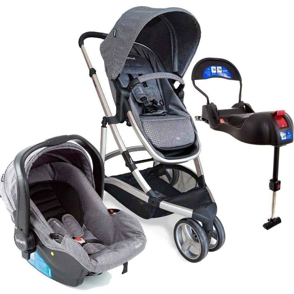 CARRINHO TRAVEL SYSTEM SKY TRIO GREY CLASSIC - INFANTI