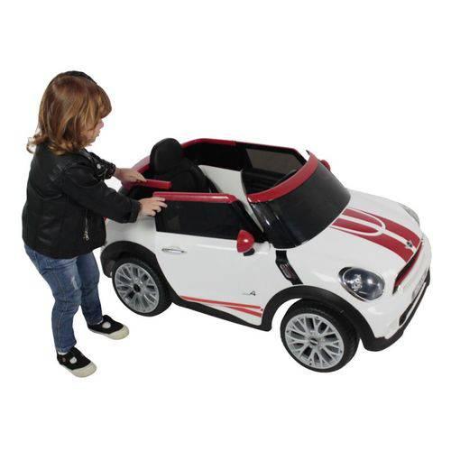 Carro Elétrico Mini Paceman 12v Branco/Vermelho - Belfix