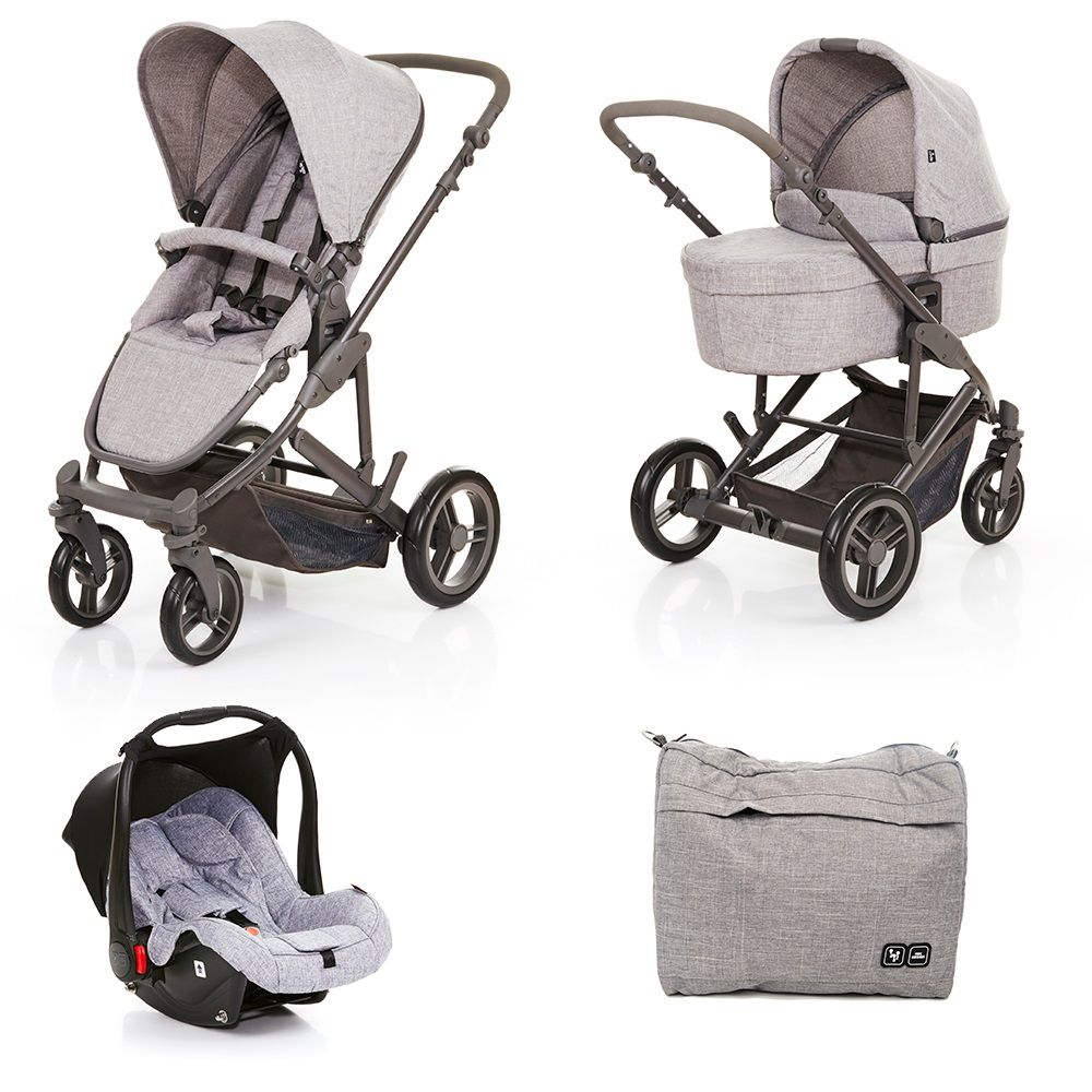 Conjunto Carrinho com Bebê Conforto e Moisés COMO4 Wover Gray (Cinza) - ABC Design