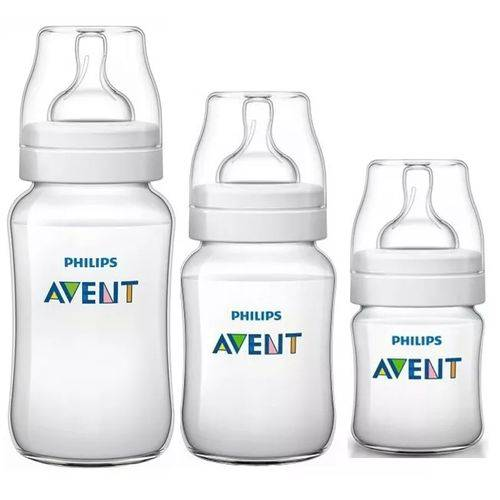 Kit 3 Mamadeiras Classic 125 260 e 330ml Anticolica - Avent