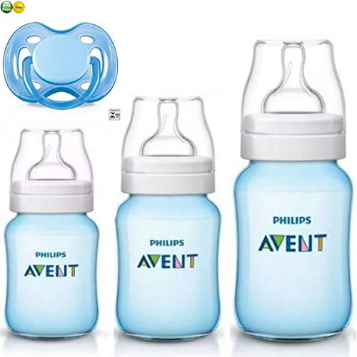 Kit Avent Classic+ 3 Mamadeiras Azul e Chupeta Philips Avent