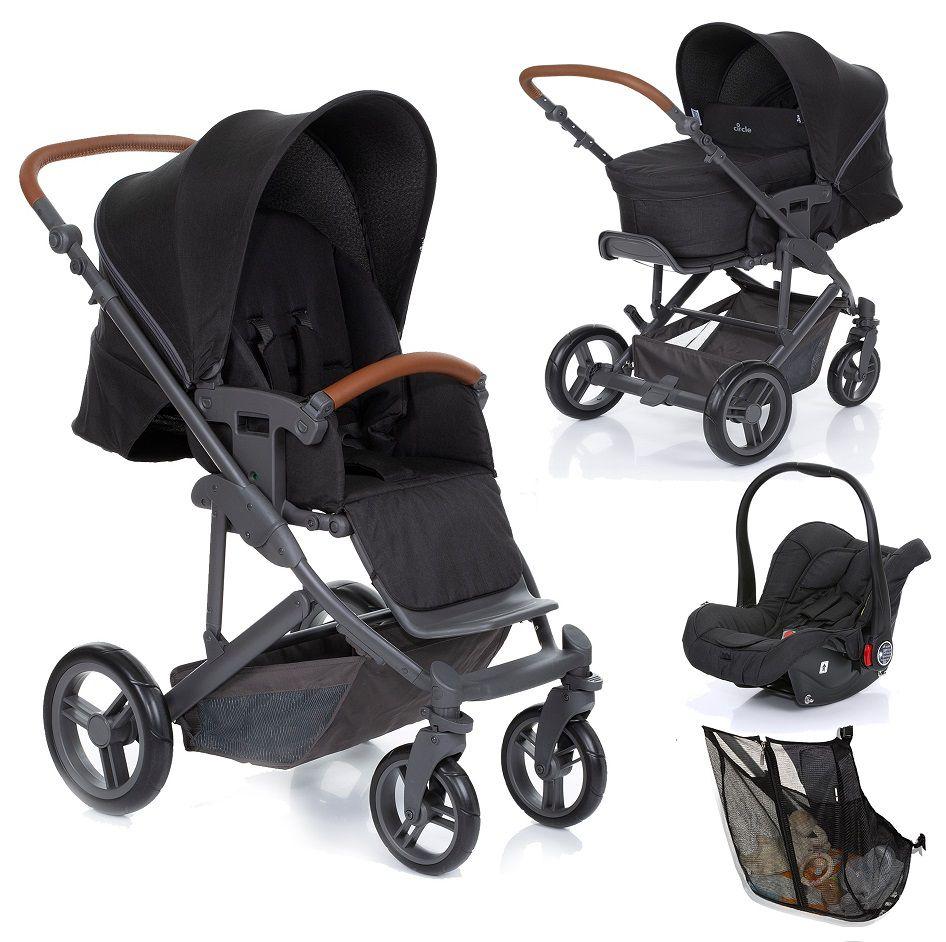 Kit Carrinho Merano + Moisés + Bebê Conforto Risus + Shop Bag Woven Black - ABC Design