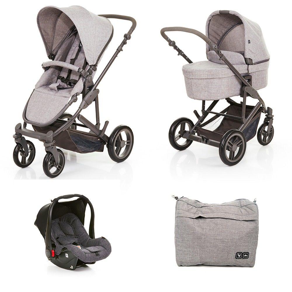 Kit COMO4 Carrinho com Moisés + Bolsa Woven Gray + Bebê Conforto Graphite (Cinza) - ABC Design
