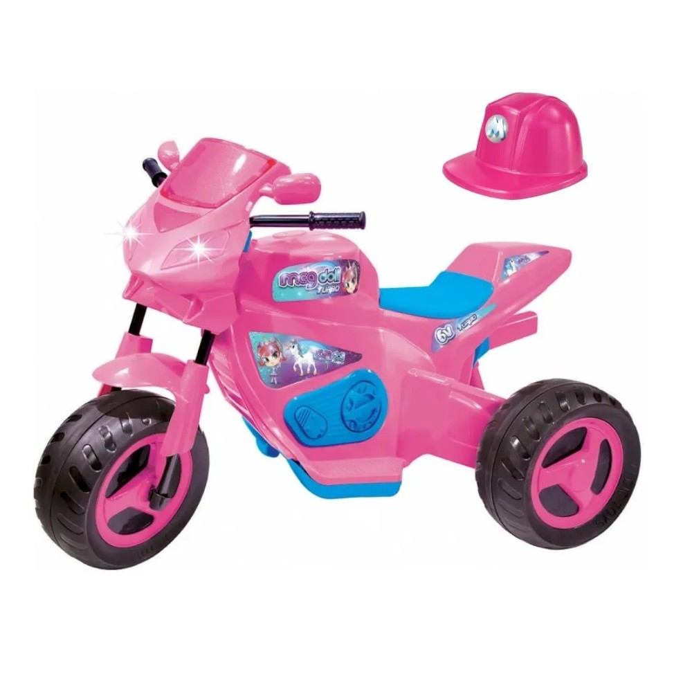 MOTO ELETRICA MEG TURBO C/ CAPACETE ROSA 6V - MAGIC TOYS