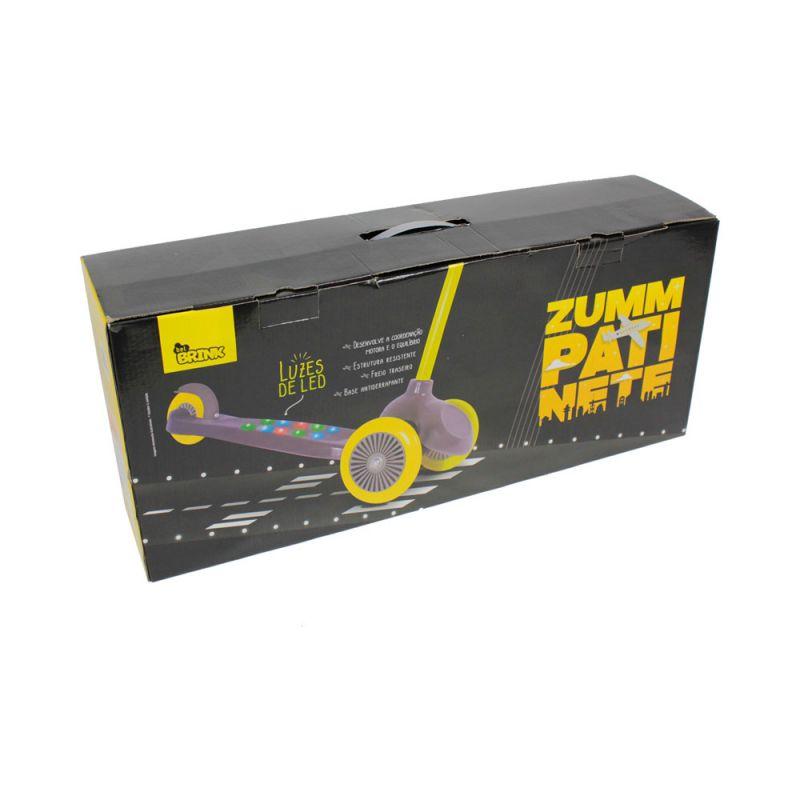 Patinete Zumm 3 rodas com led Cinza/Amarelo - Belfix