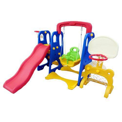 Playground Infantil 5x1 Escorregador Balanço Cesta e Gol - Importway