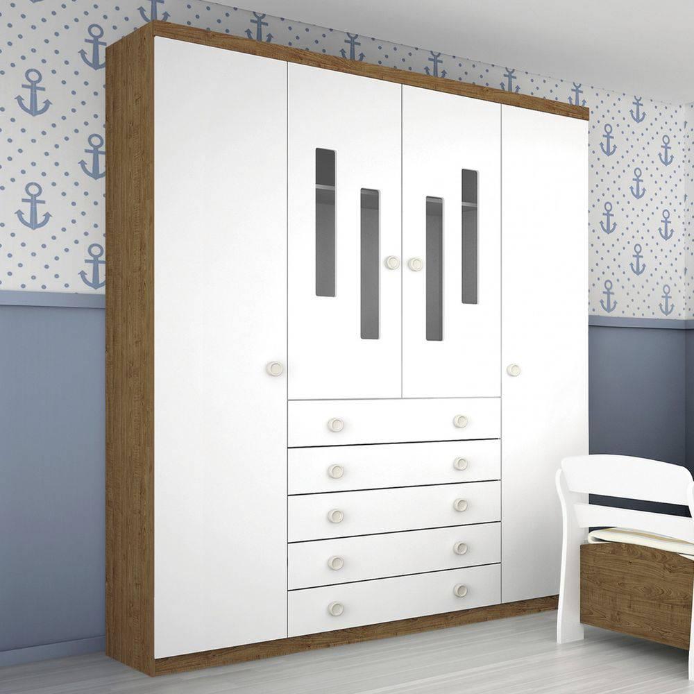 Roupeiro Infantil Evolution 4 portas Imbuia - Tcil