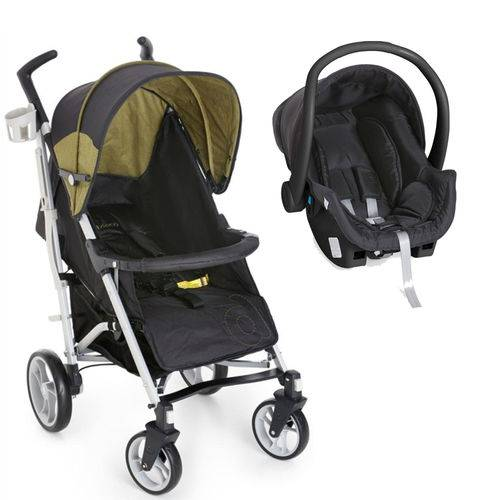 Travel System Tatus Preto/Verde + Bebê Conforto - Dzieco