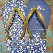 Azul com flores douradas