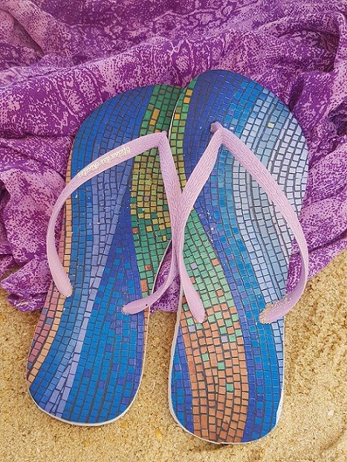 Calçada mosaico lilás