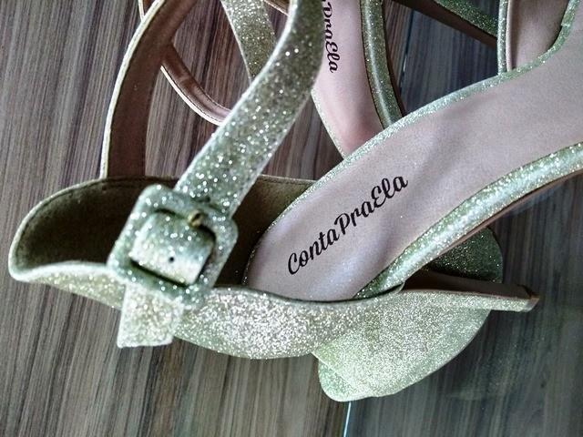 DIVA - Sandália Glitter Ouro