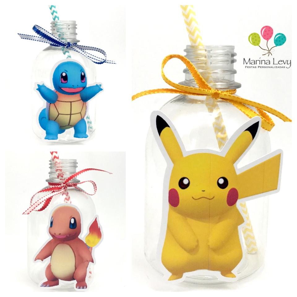 Garrafa Suco + Canudo - Pokemon Go