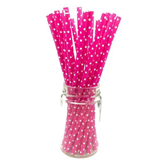 Canudo de Papel - Rosa Pink Poá