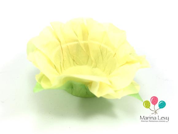 Forminha Flor 40un. - Amarelo Canario / Verde