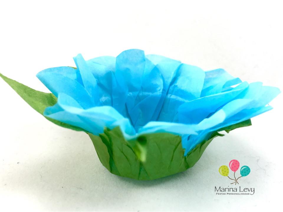 Forminha Flor 40un. - Azul Claro / Verde