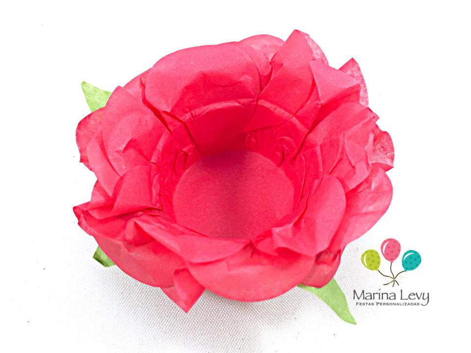 Forminha Flor 40un. - Cereja / Verde
