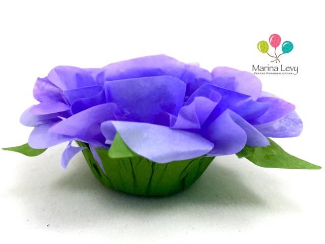 Forminha Flor 40un. - Lilas / Verde