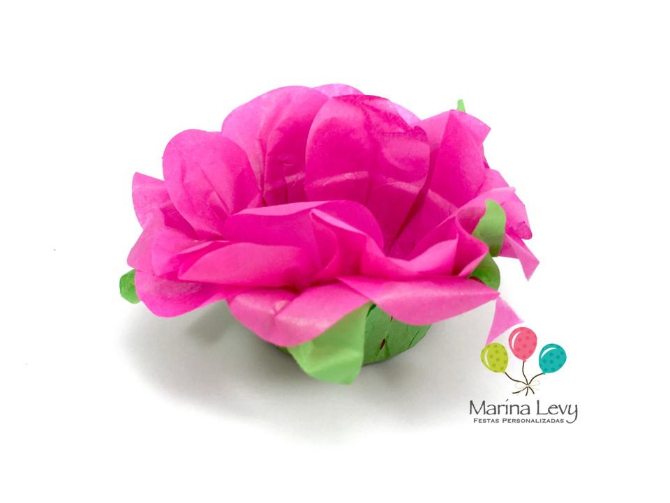 Forminha Flor 40un. - Rosa Pink / Verde