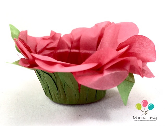Forminha Flor 40un. - Vermelho / Verde