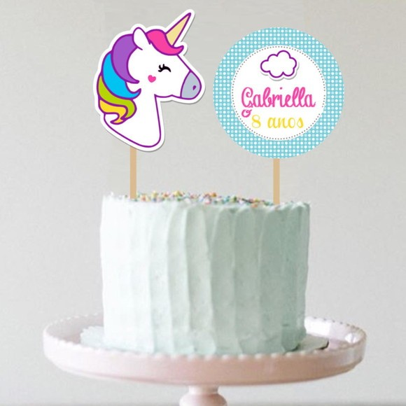 Topo de bolo - Unicórnio Novo