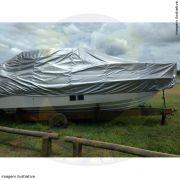 Capa Lona de Cobertura Lancha de Fibra 30 Pés com Targa Lona Metalizada
