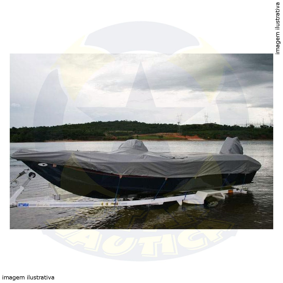 Capa Lona de Cobertura Lancha Apache 19 Pés Fluvimar Lona Poliéster