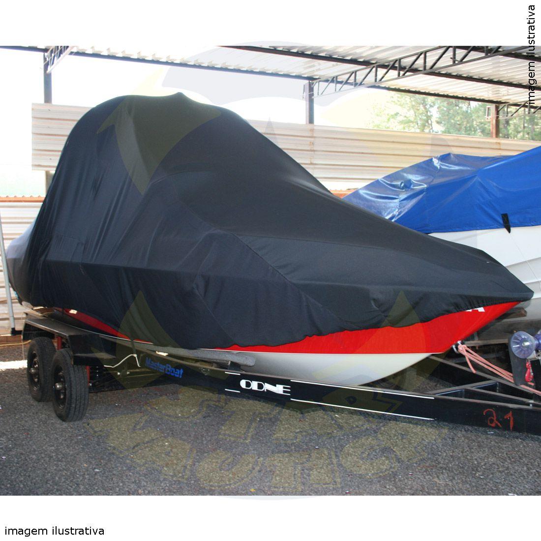 Capa Lona de Cobertura Lancha Focker 230 Black Edition com Targa Lona Guarda Chuva