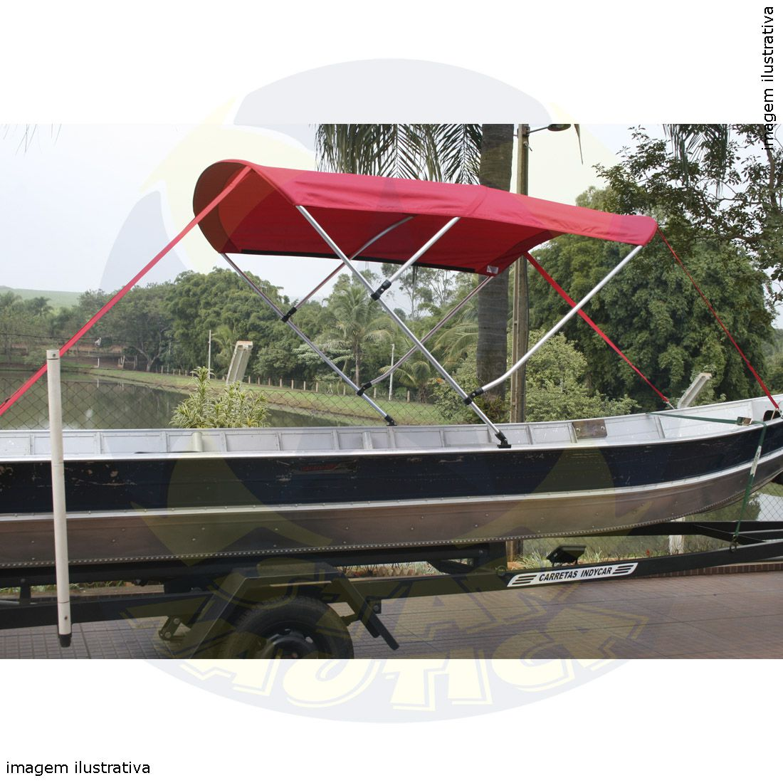 Capota Toldo Barco Boto 6000 Vinílica 3 Arcos Tubo 7/8