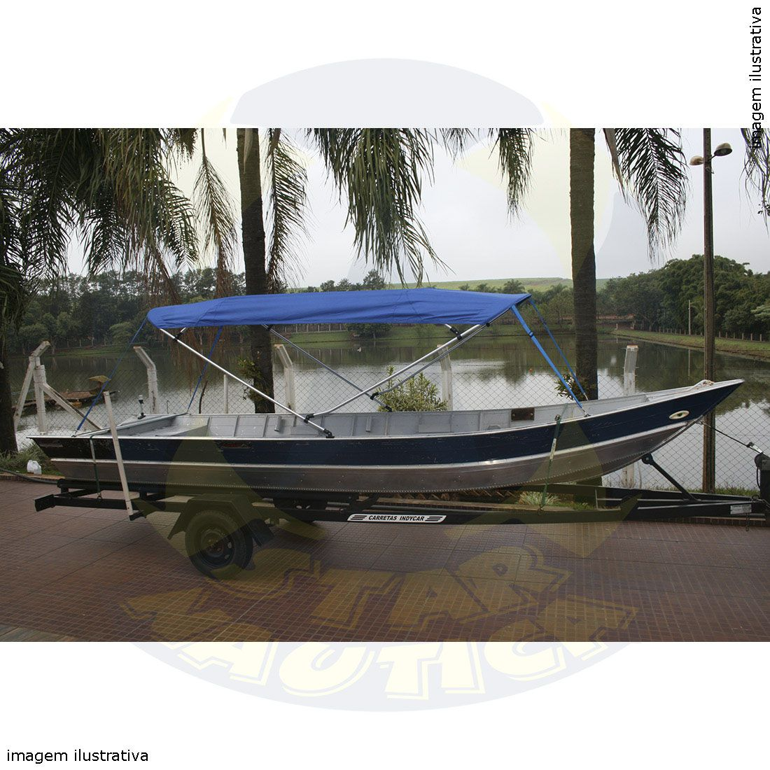 Capota Toldo Barco de Alumínio Boca até 1,50 Vinílica 4 Arcos Tubo 1 1/4