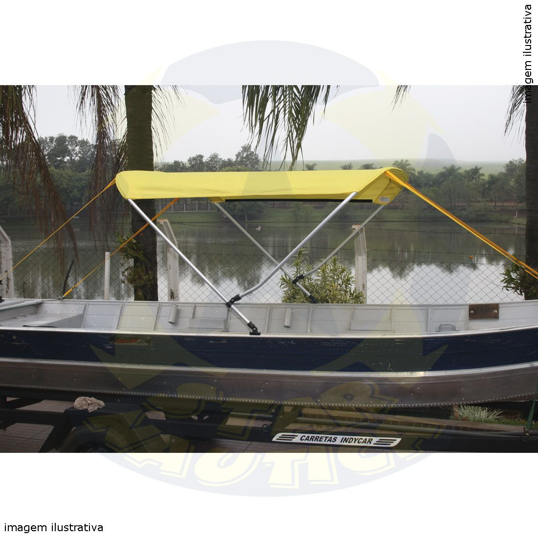 Capota Toldo Barco Pety 500 Vinílica 2 Arcos Tubo 7/8