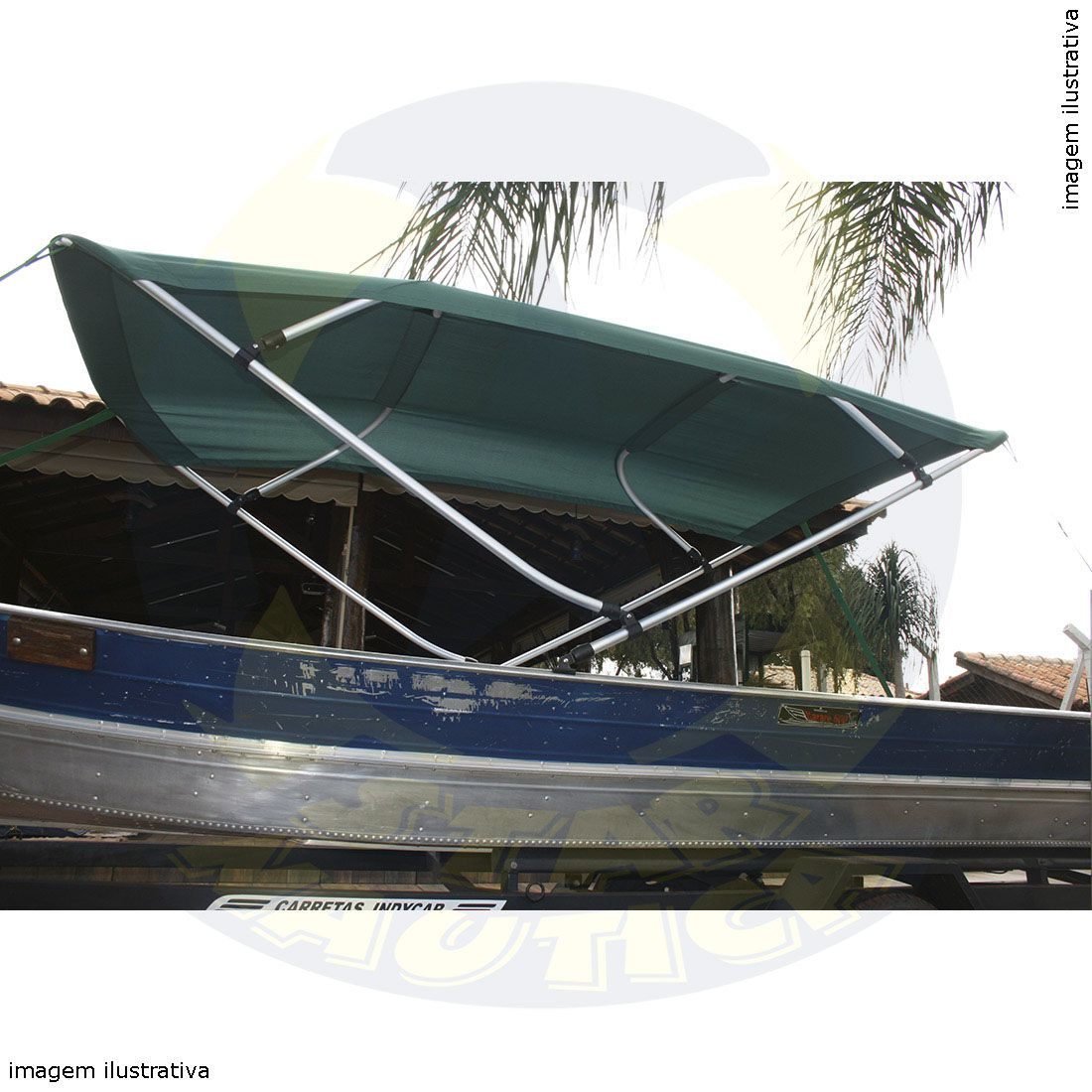 Capota Toldo Barco Pety 500 Vinílica 4 Arcos Tubo 7/8
