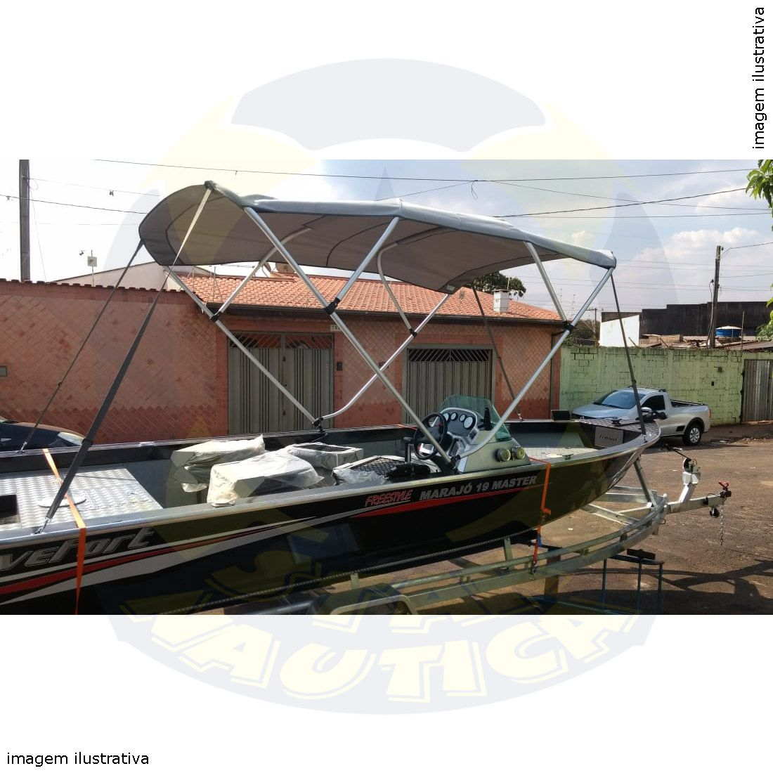 Capota Toldo Lancha Apache 17 Pés Fluvimar Vinílica 4 Arcos Tubo 1 1/4