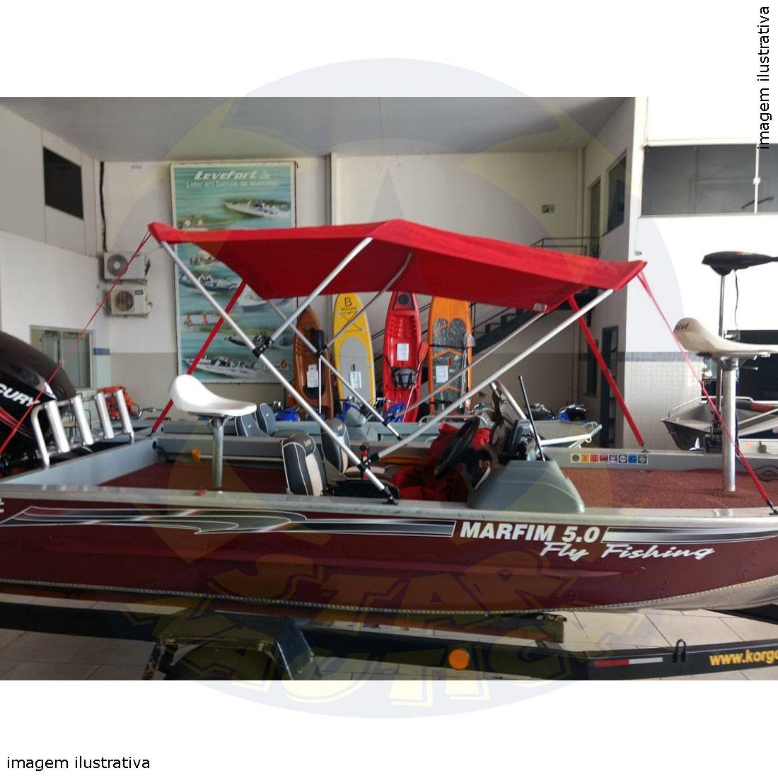 Capota Toldo Lancha Apache 19 Pés Fluvimar Vinílica 3 Arcos Tubo 7/8