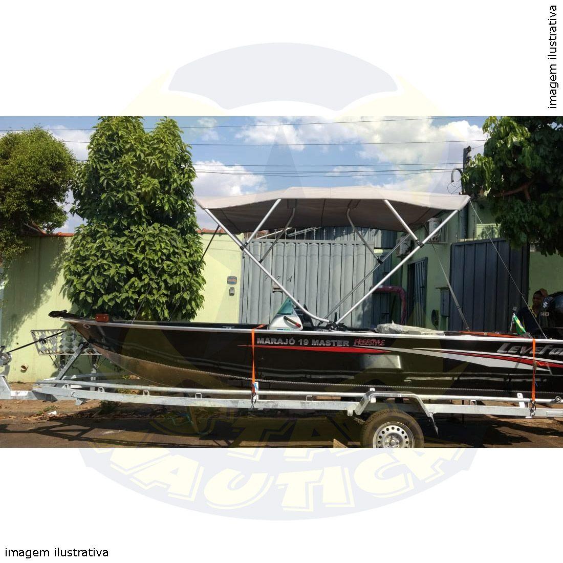 Capota Toldo Lancha Apolus 600 Tracker 19 Pés Vinílica 4 Arcos Tubo 7/8